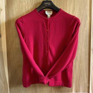 Red Vintage Talbots Crewneck Merino Wool Cardigan